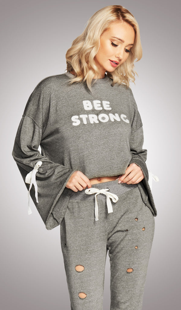 Bee Strong Tie-Sleeve Pullover