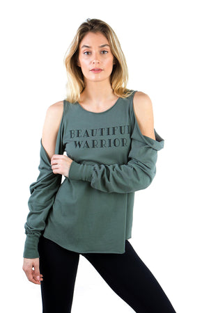 COLD SHOULDER BEAUTIFUL WARRIOR FASHION TEE