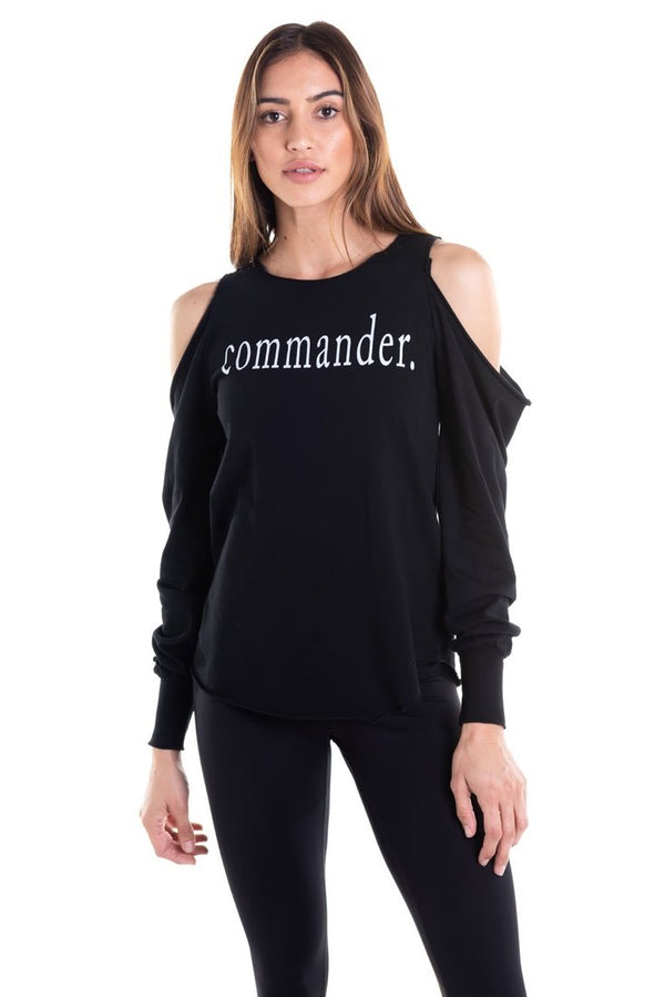 Cold Shoulder Commander Fashion Tee