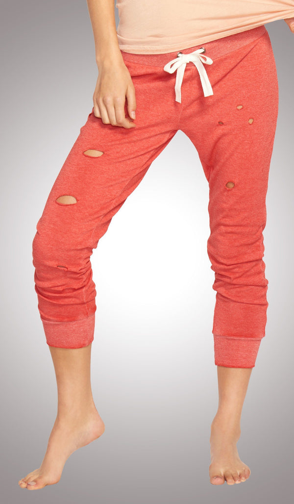 orange sweatpant, distressed sweats, fleece sweatpants, bella twins clothing line birdiebee