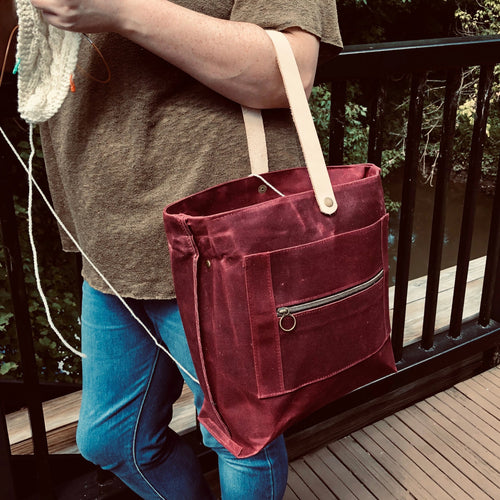 PRE-ORDER Waxed Canvas Logan Project Bag // Merlot