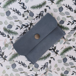 Leather Card Holder -Smoky Blue