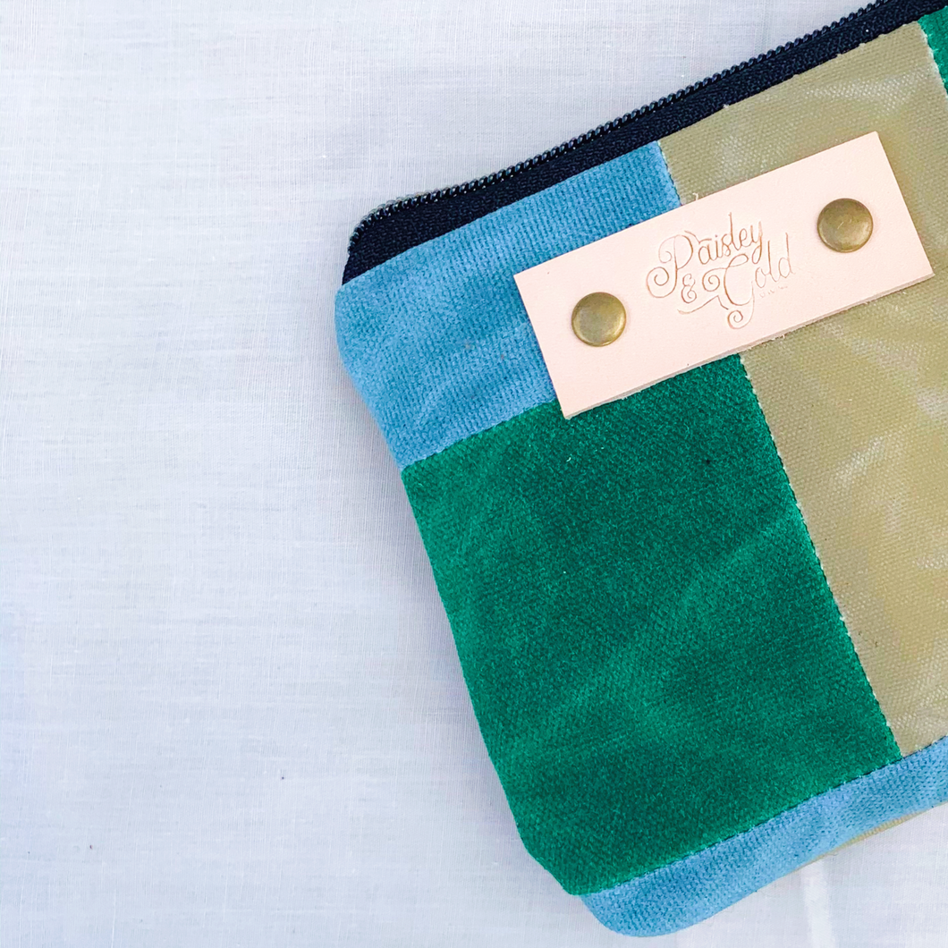 Waxed Canvas Patchwork Notion Pouch // 001