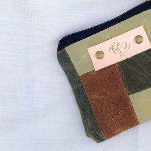 Waxed Canvas Patchwork Notion Pouch // 002