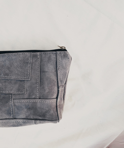 Grey Suede Patchwork Pouch // 008