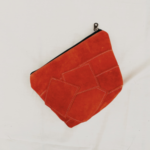 Peach Suede Patchwork Pouch // 012