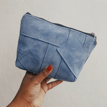 Load image into Gallery viewer, Sky Blue Suede Patchwork Pouch // 013