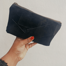 Load image into Gallery viewer, Black Suede Patchwork Pouch // 015