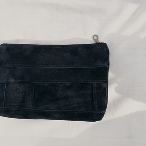 Black Suede Patchwork Pouch // 016