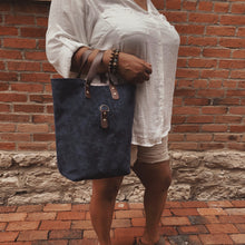 Load image into Gallery viewer, Catalina Front Clasp Suede Tote - Navy
