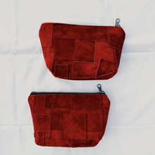 Load image into Gallery viewer, Red Suede Patchwork Pouch // 001