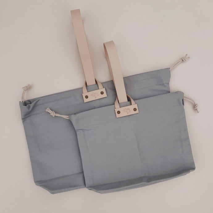 Hamilton Leather Loop Project Bag - Powder Blue