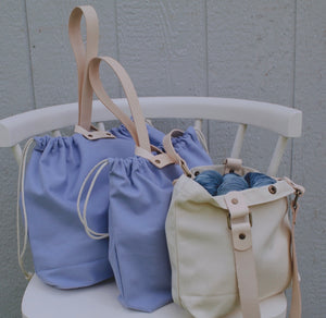Hamilton Leather Loop Project Bag - Periwinkle
