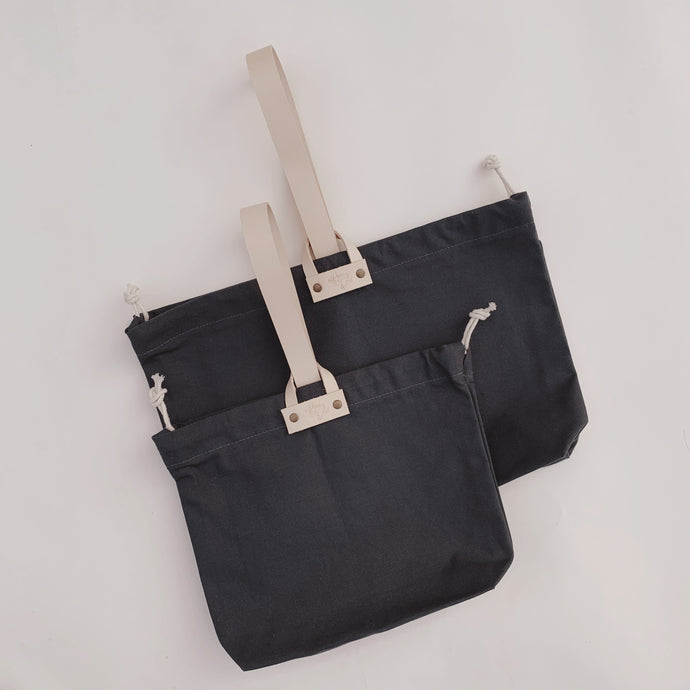 Hamilton Leather Loop Project Bag - Charcoal