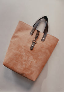 Catalina Front Clasp Suede Tote - Peach