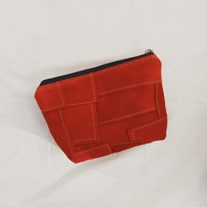 Orange Suede Patchwork Pouch // 004