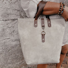 Load image into Gallery viewer, Catalina Front Clasp Suede Tote - Storm