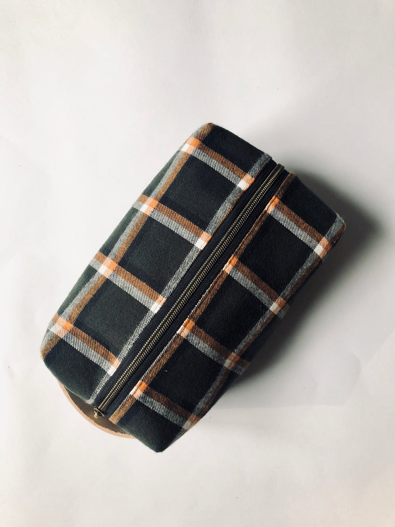 Olive & Orange Plaid Cotton Flannel Dopp Kit