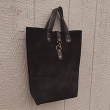 Load image into Gallery viewer, Catalina Front Clasp Suede Tote - Black