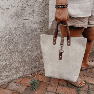 Catalina Front Clasp Suede Tote - Storm