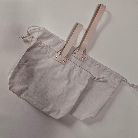 Hamilton Leather Loop Project Bag - Natural Canvas
