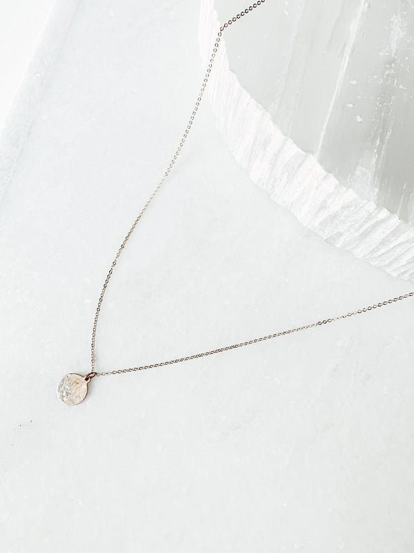 Clara Lifestyle 14k dainty gold filled chain necklace featuring unique 14k gold coin pendant
