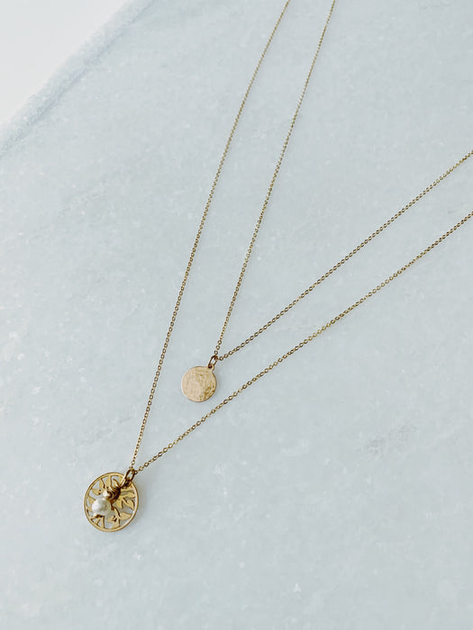 Clara Lifestyle unique layering 14k gold filled  necklaces with tree of life and organic freshwater pearl details for everyday