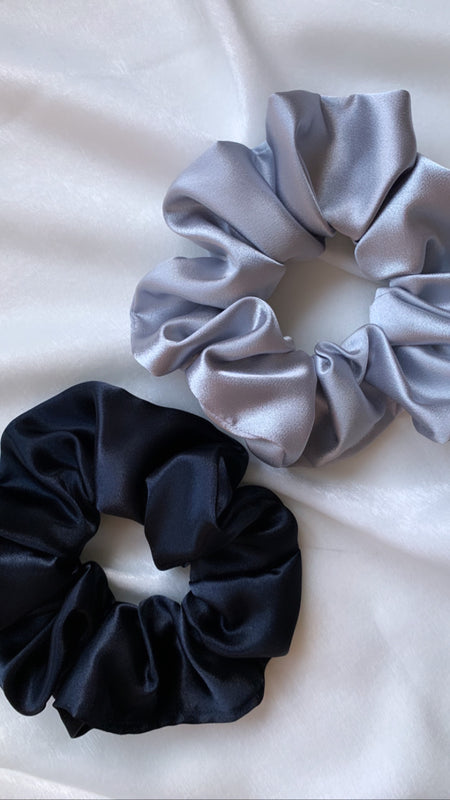 Navy Satin Scrunchie