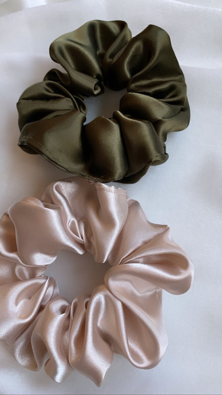 Olive Green Satin Scrunchie