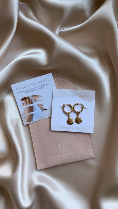 Golden Shell of Light Hoops