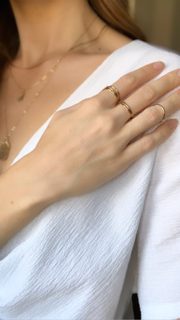 Textured Honey Stacking Ring