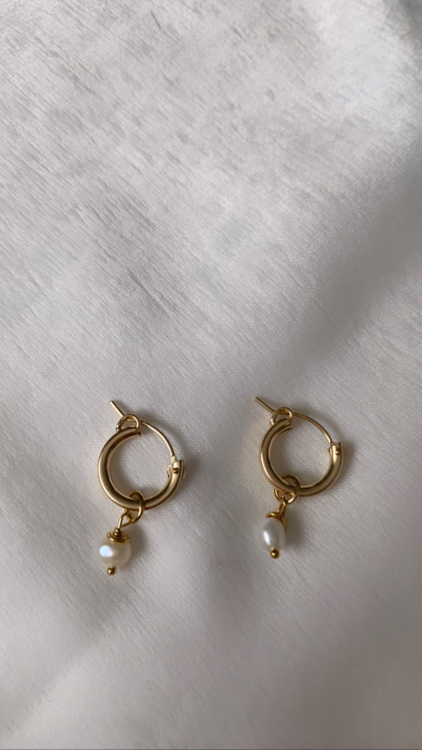 Golden Honey Hoops with Mini Pendant