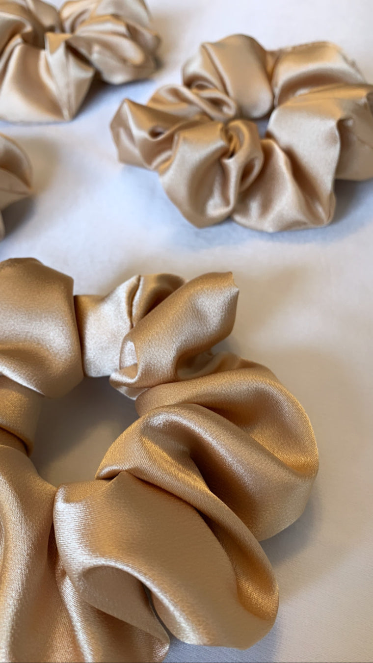 Gold Satin Silk Scrunchie