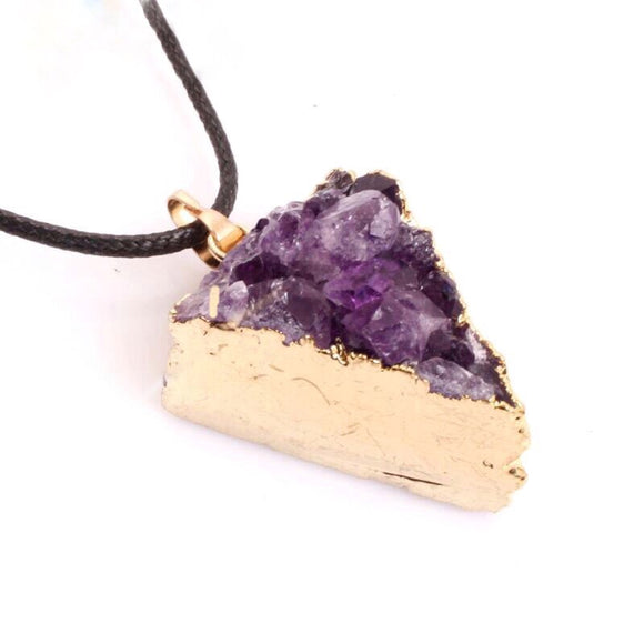 Triangular Purple Amethyst Energy Pendant Healing Necklace Jewelry