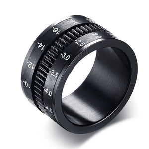 Unique Photographers Ring in Black Stainless Steel SLR Telephoto Camera Lens Ring Men's Jewelry Bands Sz 8-12