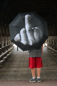 Close Your Eyes! This is for the rain you may not need on a special day. Middle Finger Umbrella Fashion Rain Windproof Folding Parasol Personality Black and White Middle Finger Sarcastic Screw the Rain! Adult Size.