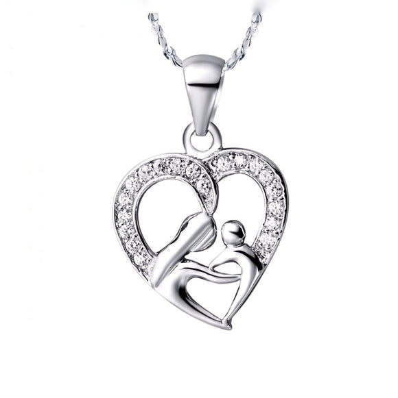 Loving Heart with Mom and Child. 925 Sterling Silver Necklace Fashion Necklaces for Women and Moms!  Great gift Idea!