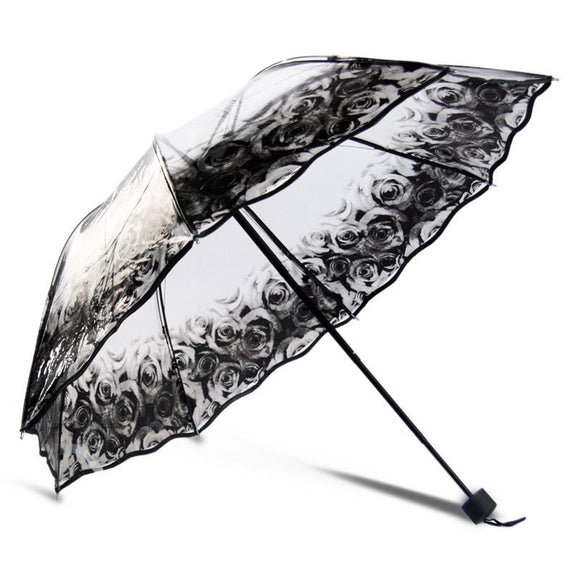 Classy Rose Umbrella Rain Women Transparent Sunny and Rainy Umbrella Parasol Thicken Three-folding Umbrella