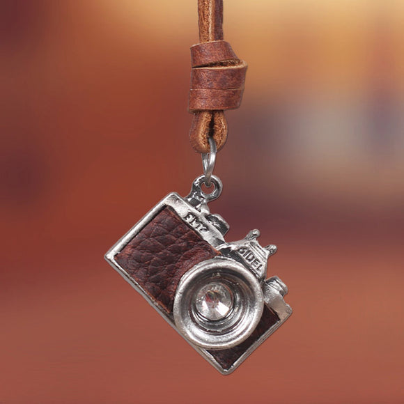 Store FAVORITE! Photographer's Necklace with adjustable Leather Chain that can Shorten to a Choker or wear Long. Unisex Camera Jewelry. Brown or Black.