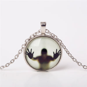 Terrifying Ghost Necklace that GLOWS in the DARK! Glass Pendant Halloween Statement Necklace