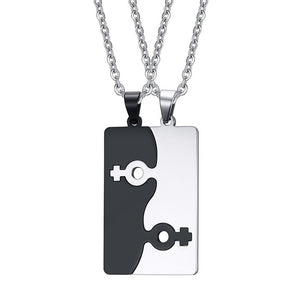 FEMALE/Female and MALE/male Fashion Puzzle Stainless Steel Couples Pendant and Necklace...LOVE!