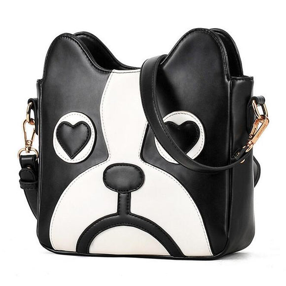 Woof Black and White Dog Fashion handbags PU leather Purse Shoulder Bag