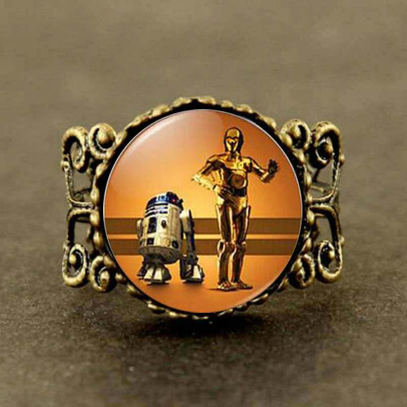 BINGO! It's YOUR Unique Star Wars Piece!  R2D2 and C-3PO Ring Robots