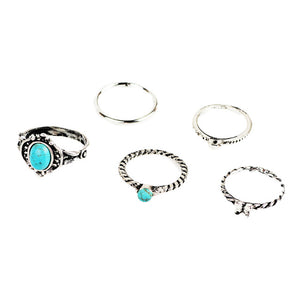 Charming 5pc Antique Silver and Turquoise Blue ring set!