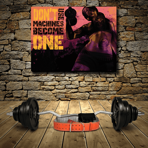 FITNESS GIRLS : DON'T USE MACHINES BECOME ONE  - Wood frame canvas ready to hang