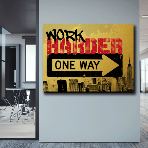 ONE WAY : WORK HARDER (GOLDEN VERSION) - Wood frame canvas ready to hang