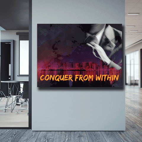 CONQUER FROM WITHIN - Wood frame canvas ready to hang