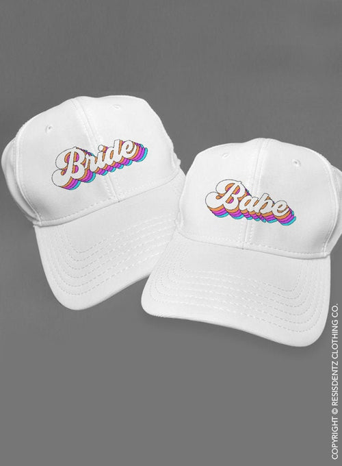 Bride and Babe Bachelorette Party Hats, Retro Font Baseball Style Hats for Bride and Bridal Party, Dad Hat style Caps, Bridesmaid Hats  - Baseball Caps
