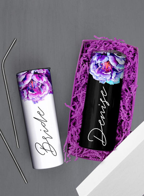 Purple Peony Flower, White or Black Background Gift Box Custom 20oz Skinny Tumbler