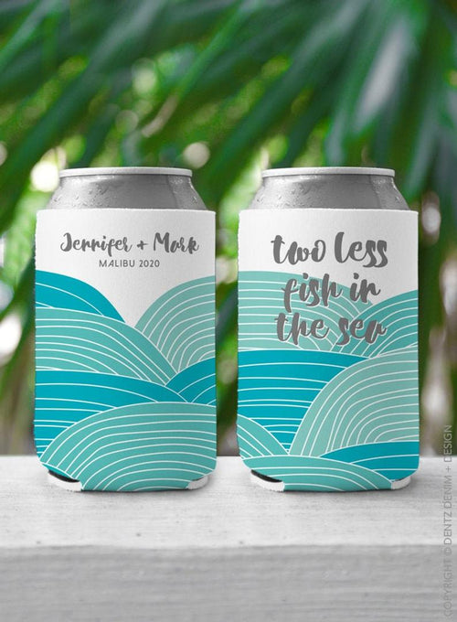 Beach Abstract Waves - Custom Bachelorette Party Can Cooler